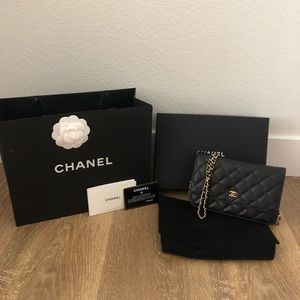 Chanel wallet on chain Caviar Leather Black w/Gold